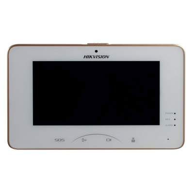Hikvision 7 Inch Room Station, Touchscreen, 8ch Alarm, 1024 x 600, Camera, WiFi, PON, White