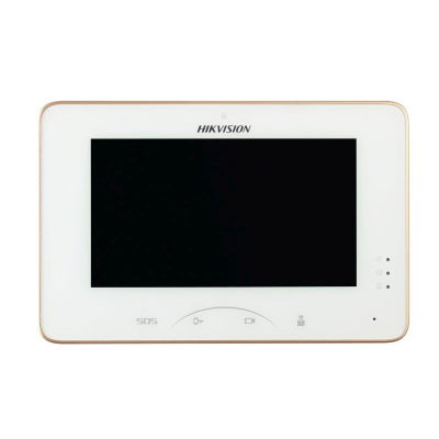 Hikvision 7 Inch Room Station, Touchscreen, 8ch Alarm, 1024 x 600, PON, White