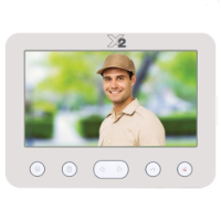 X2 Video 7 Inch Room Station, 2 Wire, White, max 2 Doors and 4 Rooms, 100 Event Memory