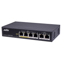 Aetek 4 Port Unmanaged PoE Switch, 2x 100M Uplink, 802.3af/at, EX Mode, 65W
